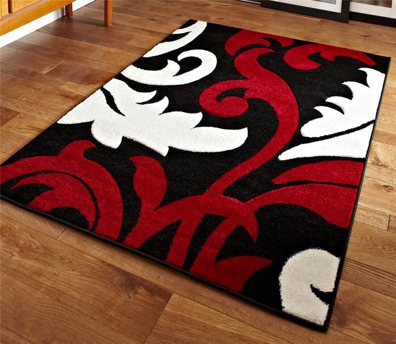 Black Red and White Floral Damask Design Stunning Modern Pattern