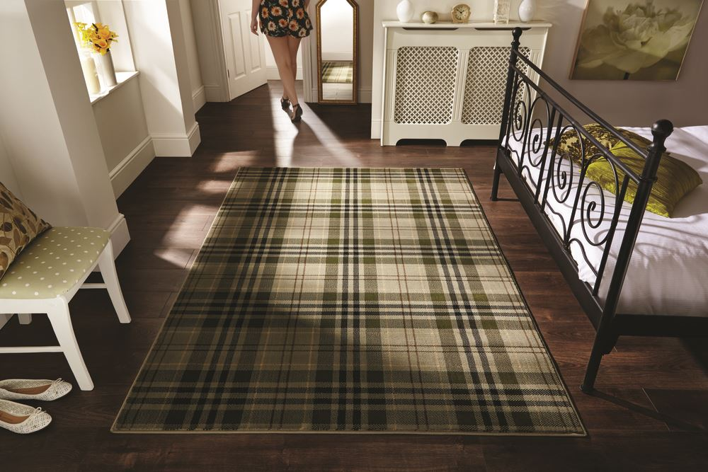 Tartan Hard Wearing Quality Checd Rug Soft Touch