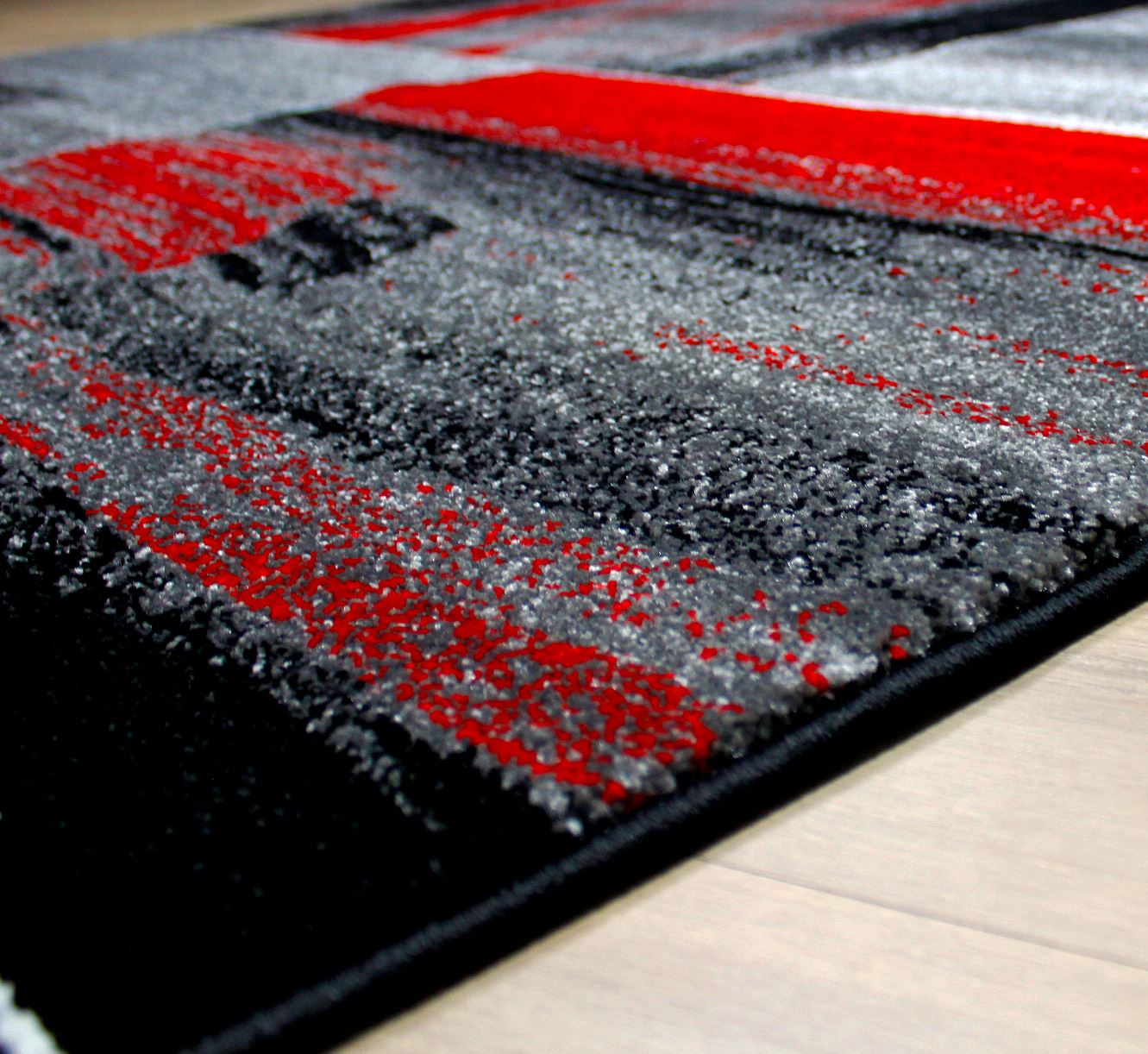 Black And Red Area Rugs modern square pattern contemporary designer rugs black red green