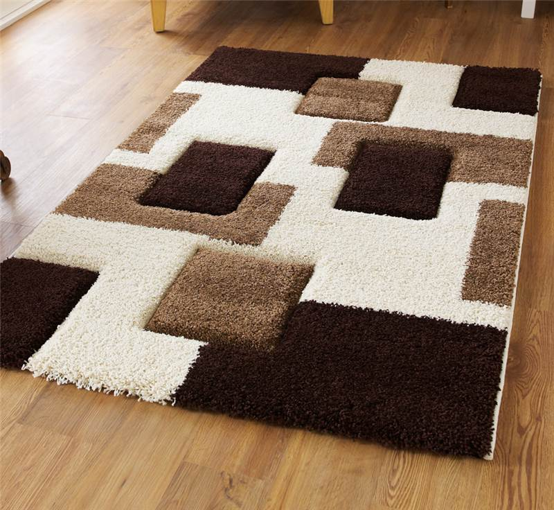Cream and brown high density thick pile hand carved shaggy for Thick area rugs sale