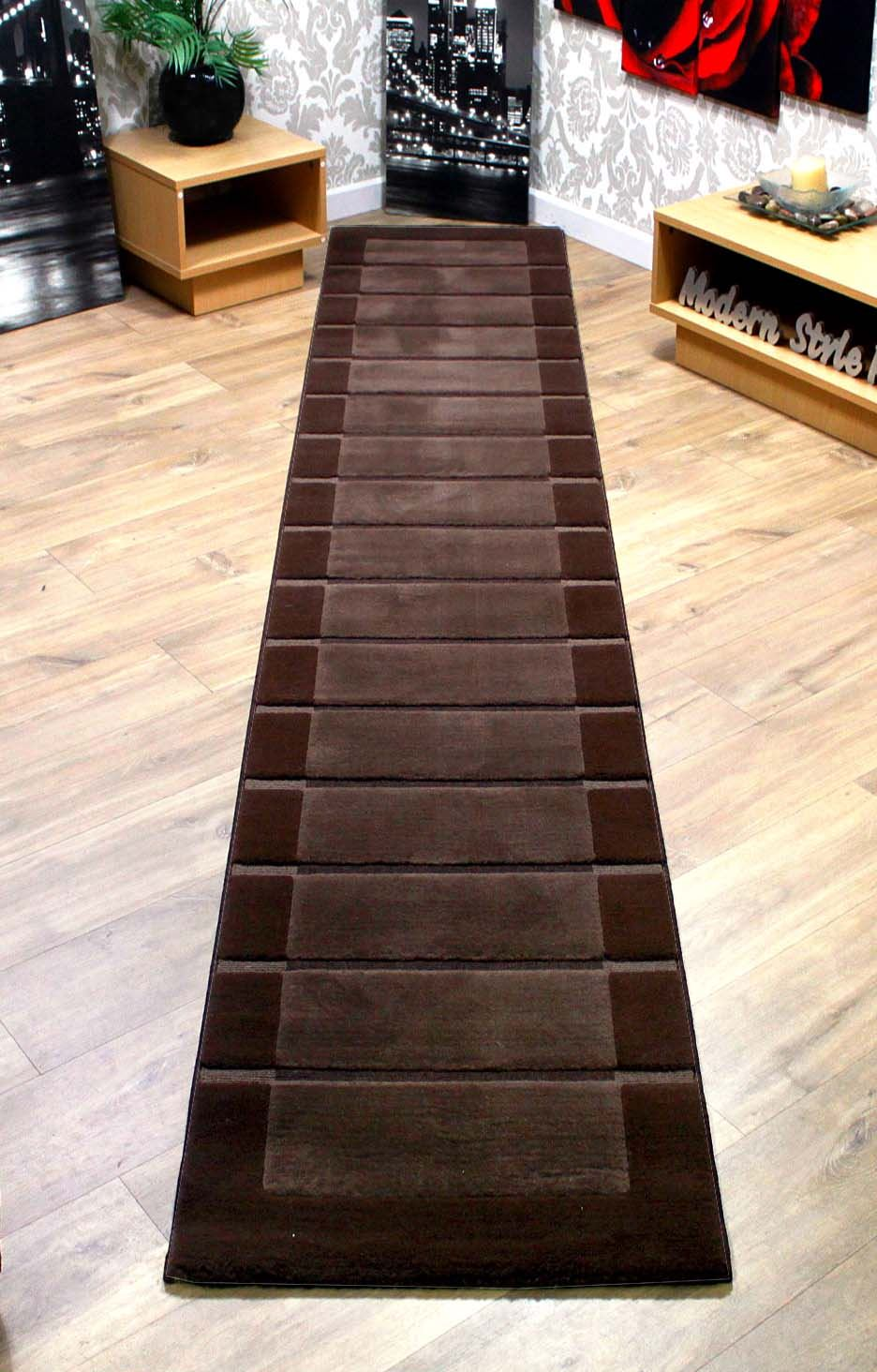 rrp extra long thick hallway runner rugs chocolate brown beige cream ebay. Black Bedroom Furniture Sets. Home Design Ideas