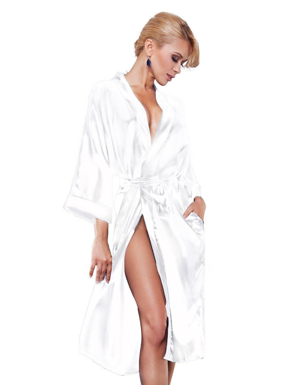 dkaren 115 luxe nightwear satin robe de chambre peignoir kimono sleepwear ebay. Black Bedroom Furniture Sets. Home Design Ideas