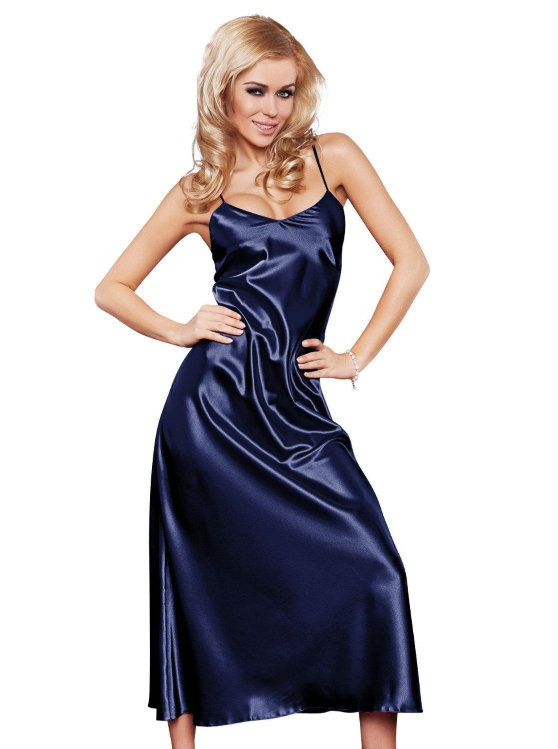 long satin chemise nightdress nightgown lingerie ebay. Black Bedroom Furniture Sets. Home Design Ideas