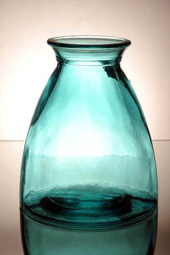 high vase 20 cm blue 100 recycled glass l lovely chunky home decoration ebay. Black Bedroom Furniture Sets. Home Design Ideas