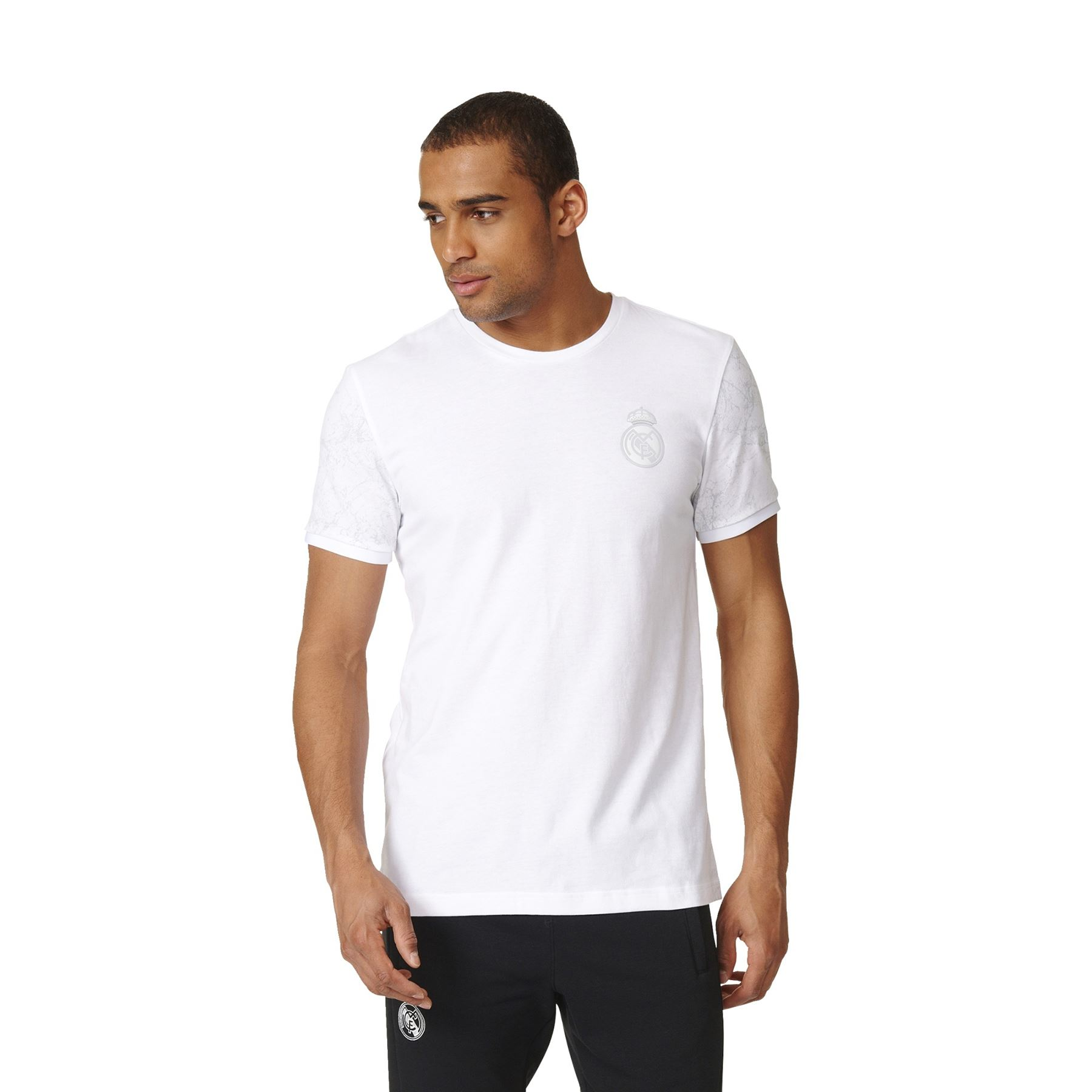 Adidas mens gents football real madrid graphic sleeve t for Best white t shirt mens