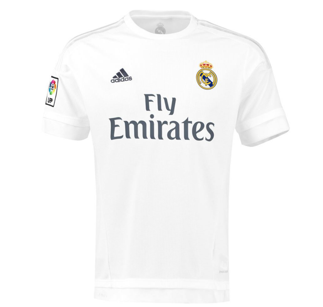 adidas childrens real madrid football home shirt jersey t shirt top 15 16 white ebay. Black Bedroom Furniture Sets. Home Design Ideas