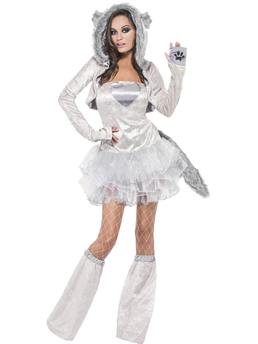 Ladies Fever Wolf Costume Fancy Dress Jungle Zoo Safari