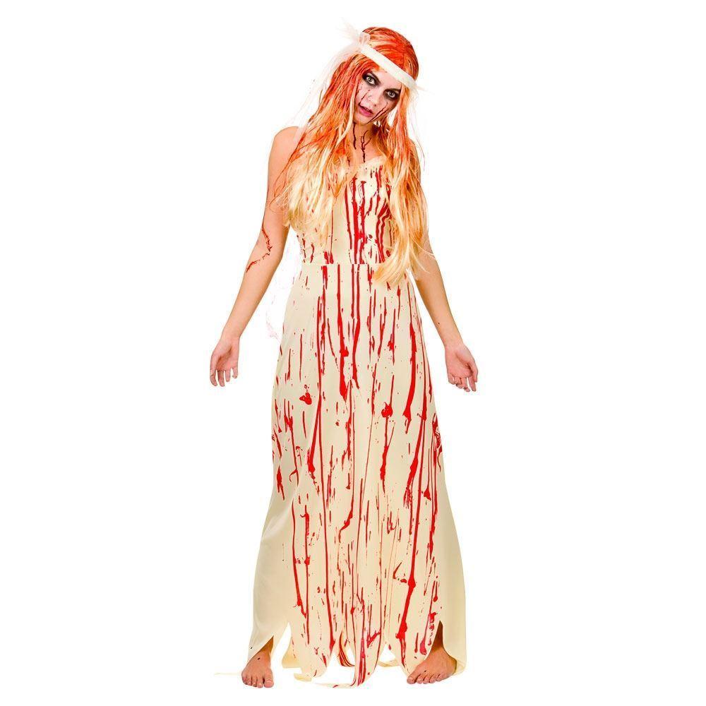 Ladies Bloody Bride Costume Prom Queen Carrie 80s ...