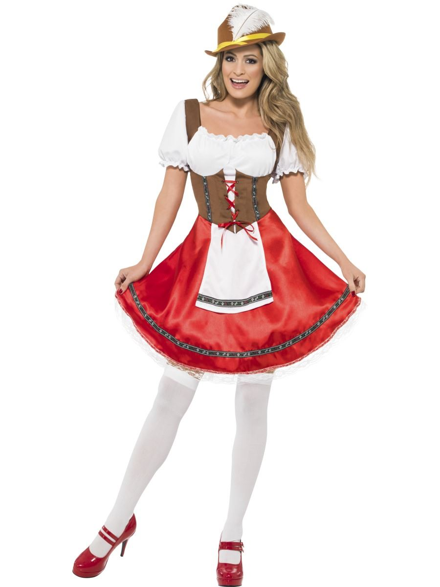 Ladies Oktoberfest Bavarian Beer Wench German Lederhosen Fancy Dress Costumes