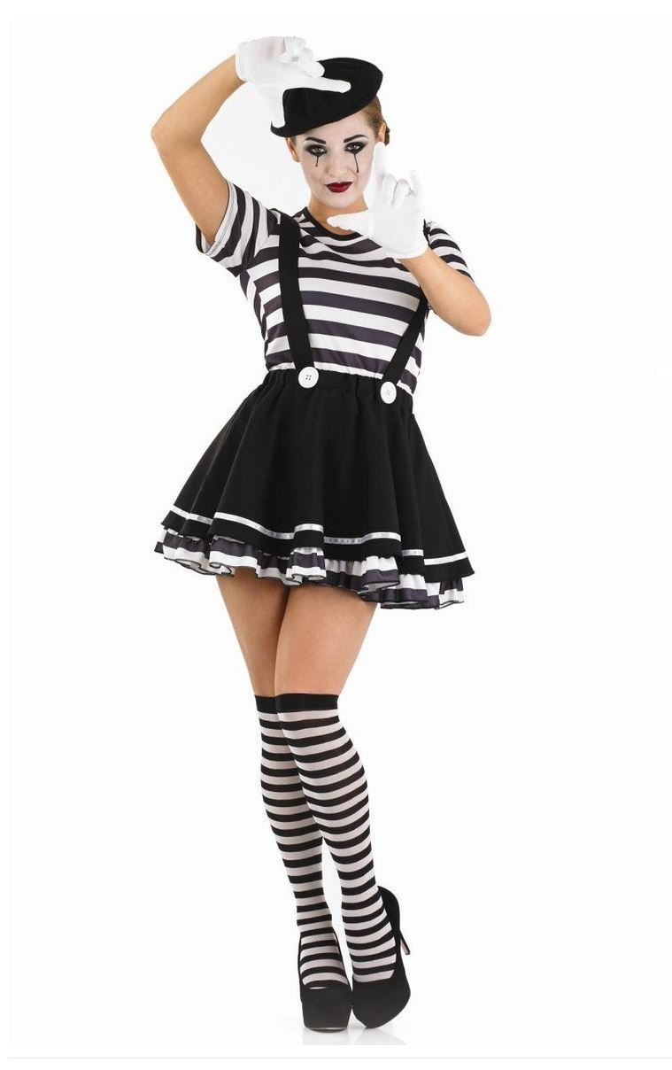 adulte artiste mime costume d guisement noir blanc rue circus fran ais costume ebay. Black Bedroom Furniture Sets. Home Design Ideas