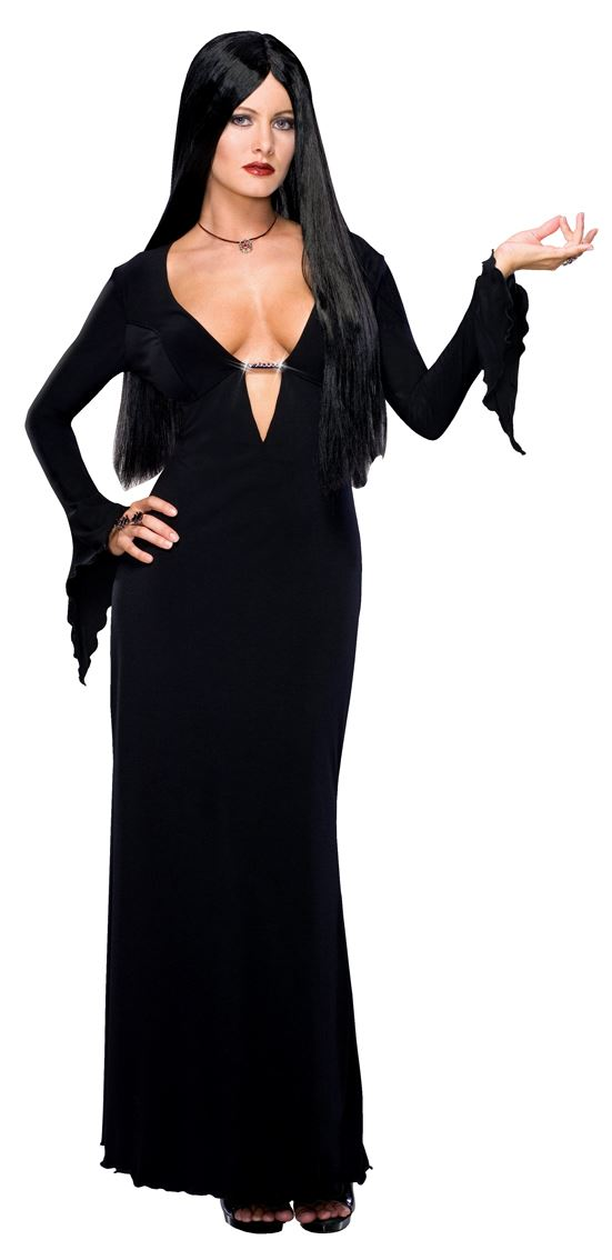 Ladies-MORTICIA-ADDAMS-Family-Halloween-Sexy-Witch-90s-Fancy-Dress-Costume-Wig