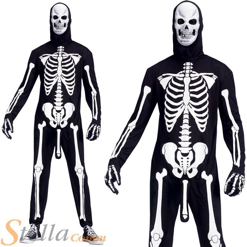 Disfraz de Esqueleto Blanco y Negro adulto