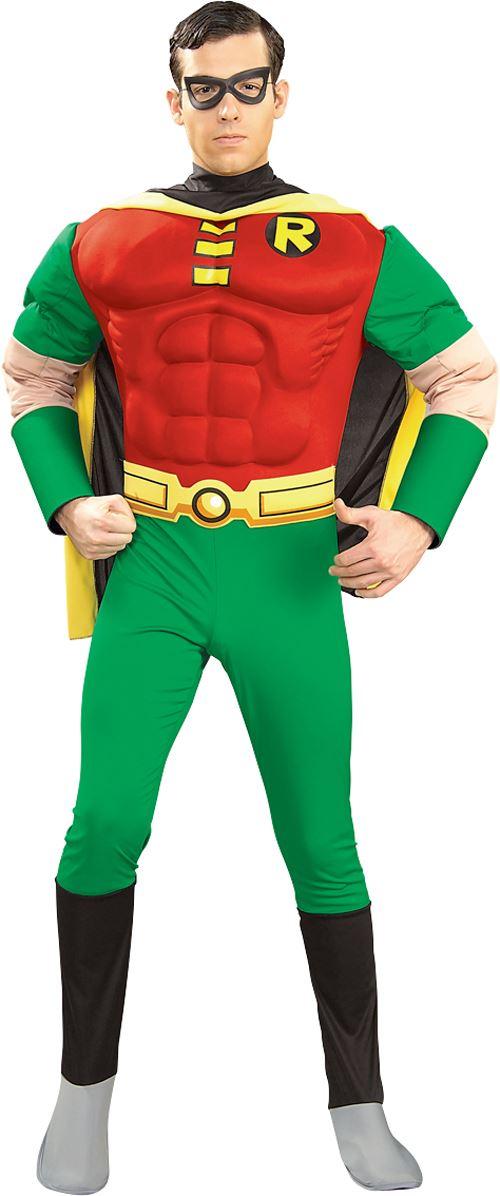 Mens Robin Deluxe Muscle Chest Superhero Halloween Batman Fancy Dress Costume eBay