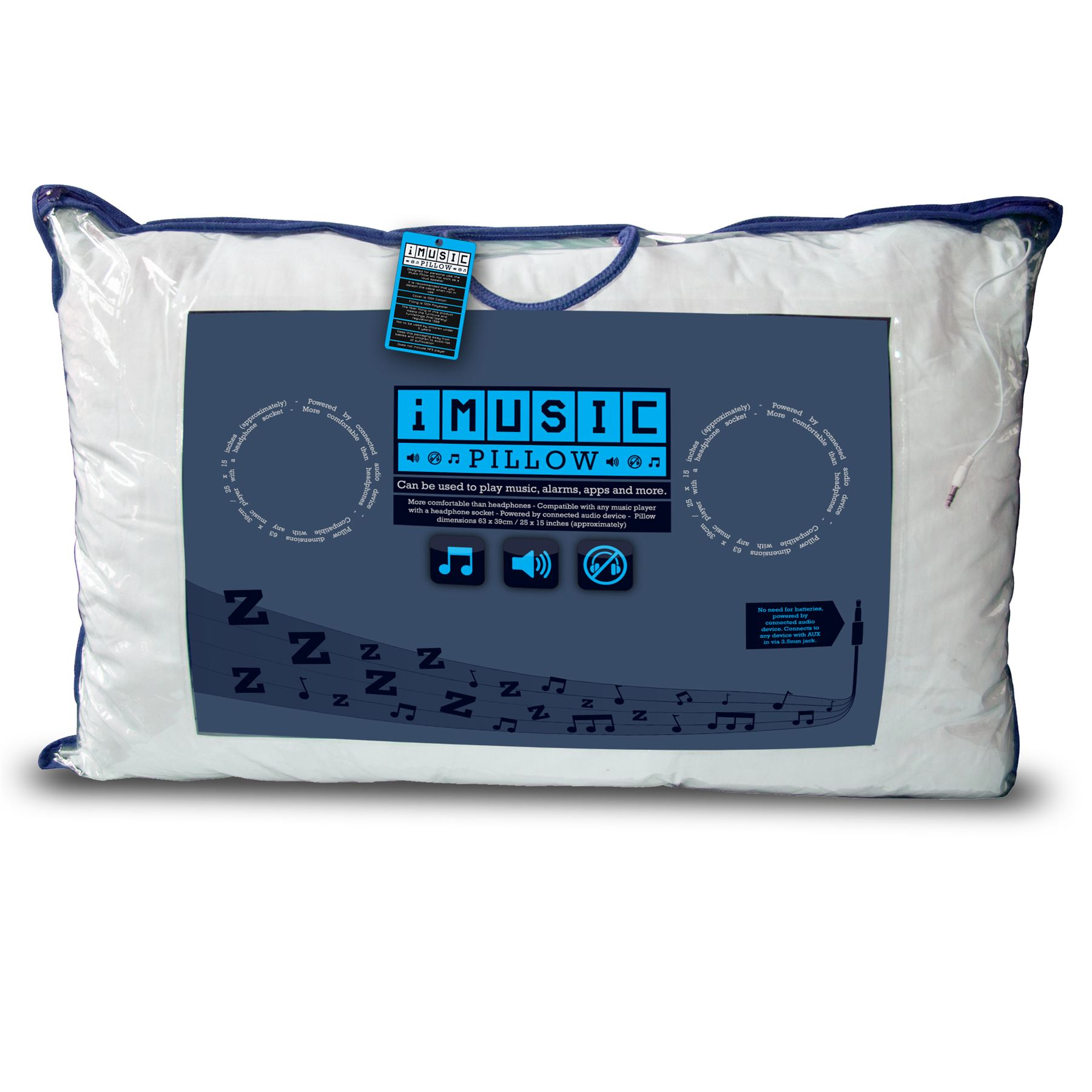 Music pillow cushion built in speakers imusic iphone ipod for Music speaker pillow