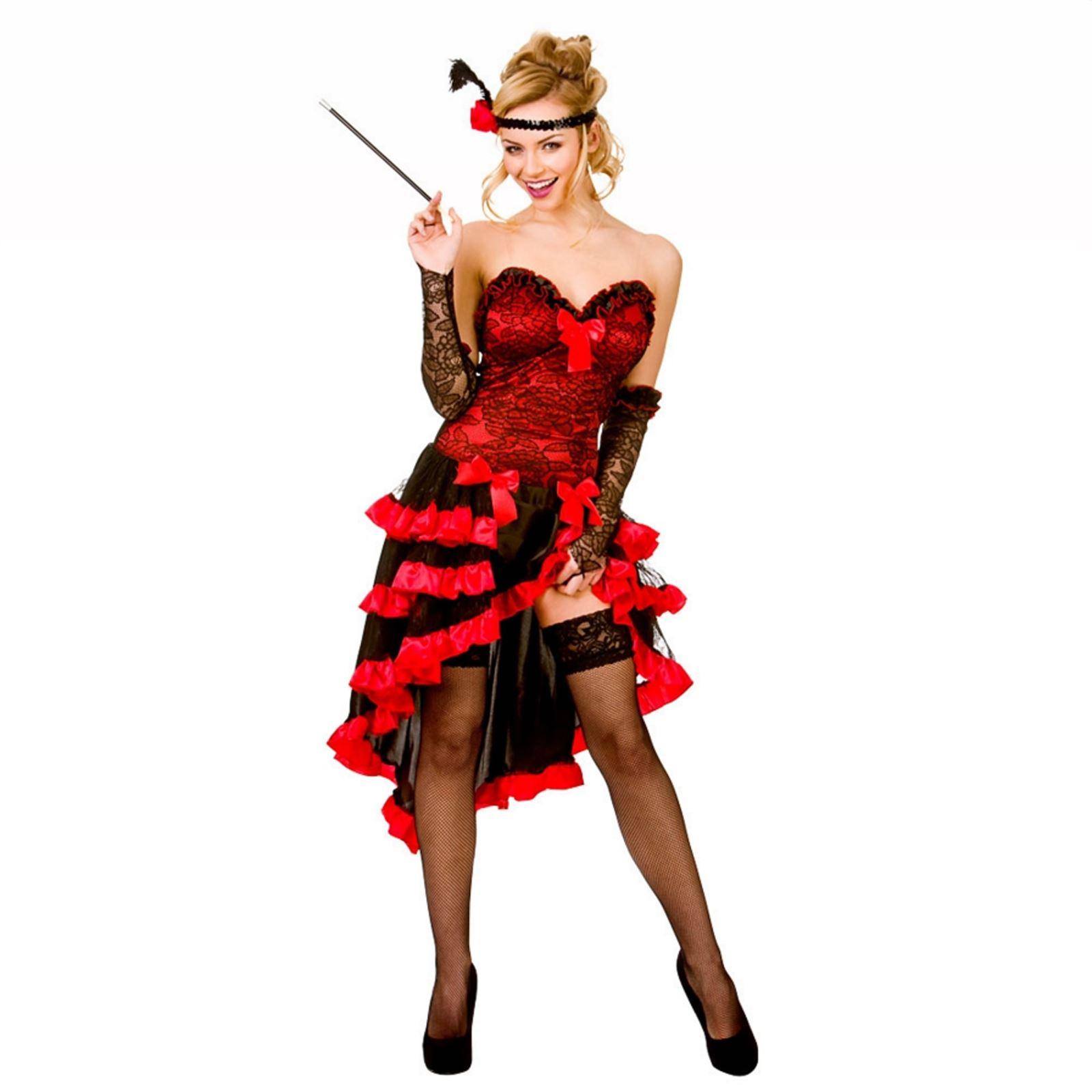 ladies red wild west showgirl saloon girl burlesque fancy dress costume ebay. Black Bedroom Furniture Sets. Home Design Ideas
