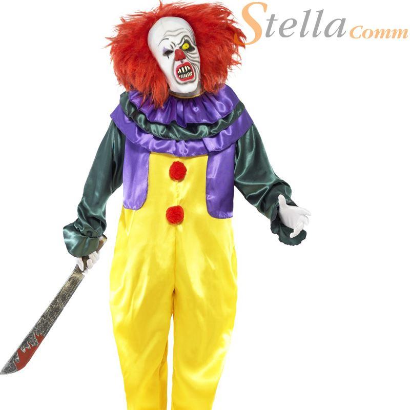 hommes classique horreur tueur clown cirque it halloween d guisement costume ebay. Black Bedroom Furniture Sets. Home Design Ideas