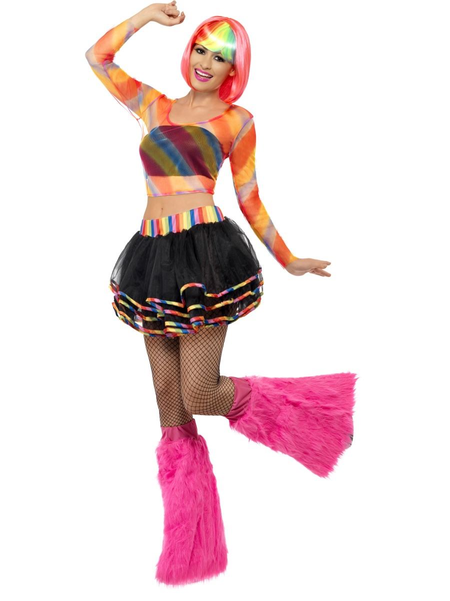 Ladies Rainbow Raver Fancy Dress Costume Disco 80s 70s Rave Neon Tutu Outfit | eBay