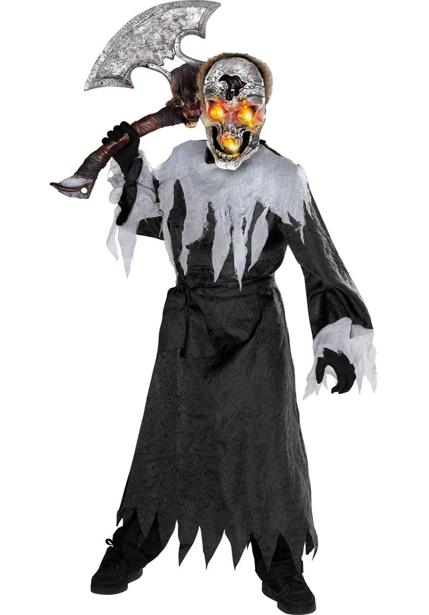 Boys Light Up Skull Demon Ghost Halloween Horror Fancy Dress ...