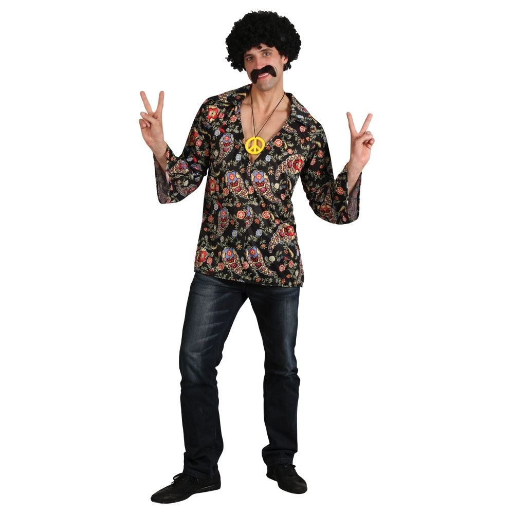 Mens Hippy Hippie 60s 70s Groovy Adult Fancy Dress Costume Shirt & Necklace