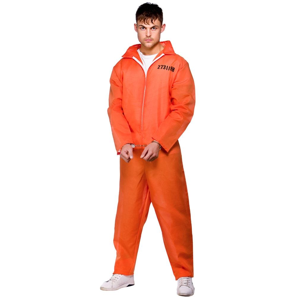 Mens Orange Convict Boiler Suit Chain Gang Prisoner Jumpsuit Fancy ...