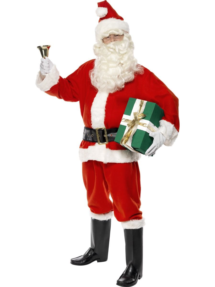 Deluxe santa costume suit father christmas fancy dress adult xmas mens