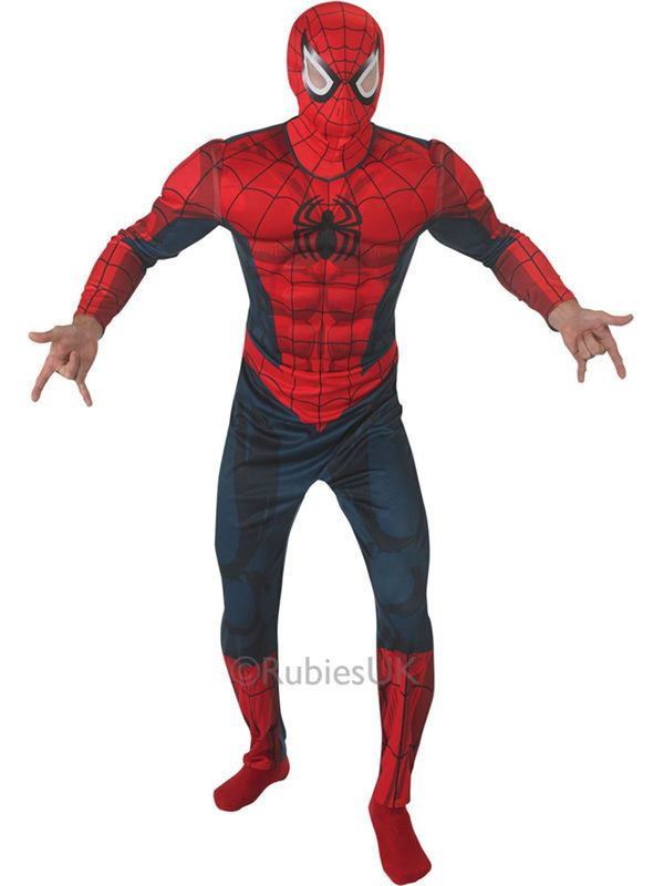 Mens Deluxe Superhero Musclechest Spiderman Adult Fancy Dress Costume Outfit