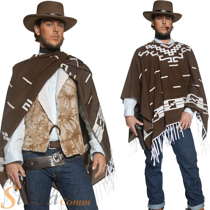 Mens Western Cowboy Wandering Gunman Fancy Dress Costume ...