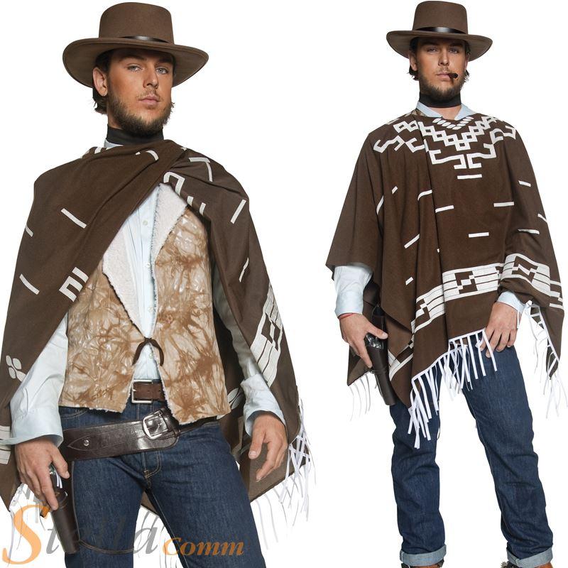 Mens Western Cowboy Wandering Gunman Fancy Dress Costume