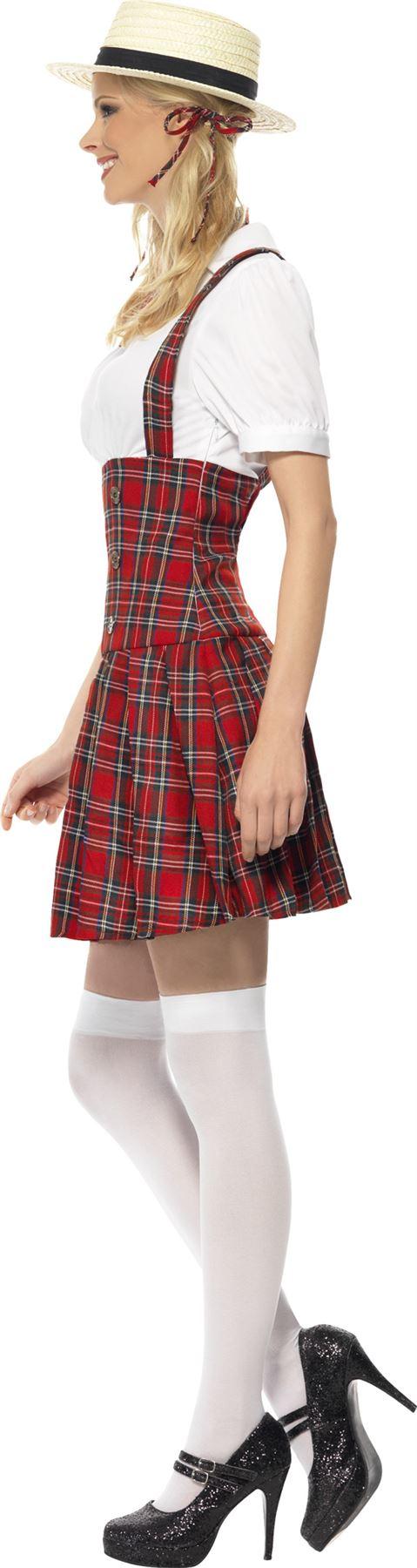 Ladies Sexy Schoolgirl Fancy Dress Costume Tartan School Girl Uniform Outfit | eBay