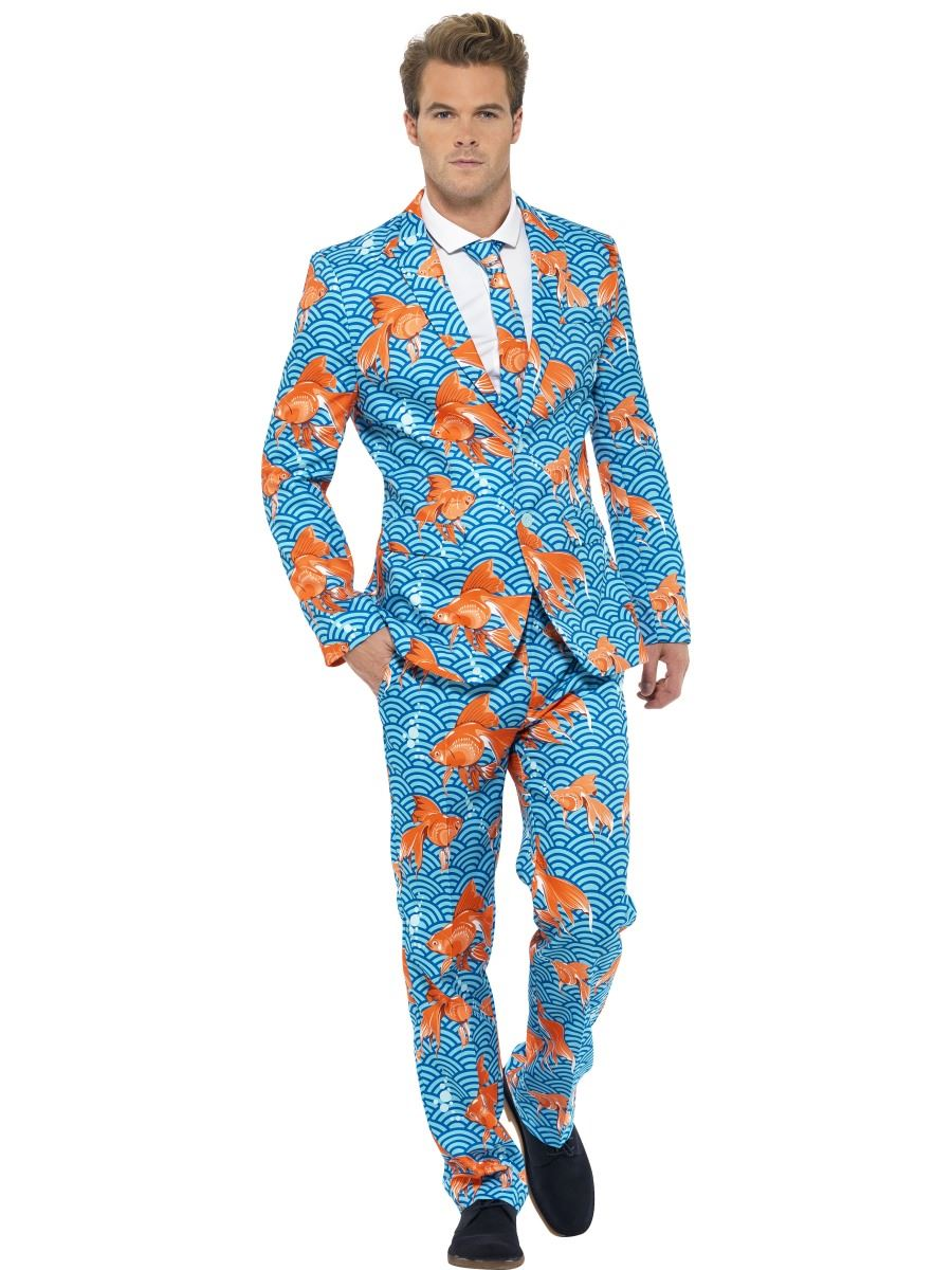 Mens stand out suits fancy dress costume stag do party for Fish onesie for adults