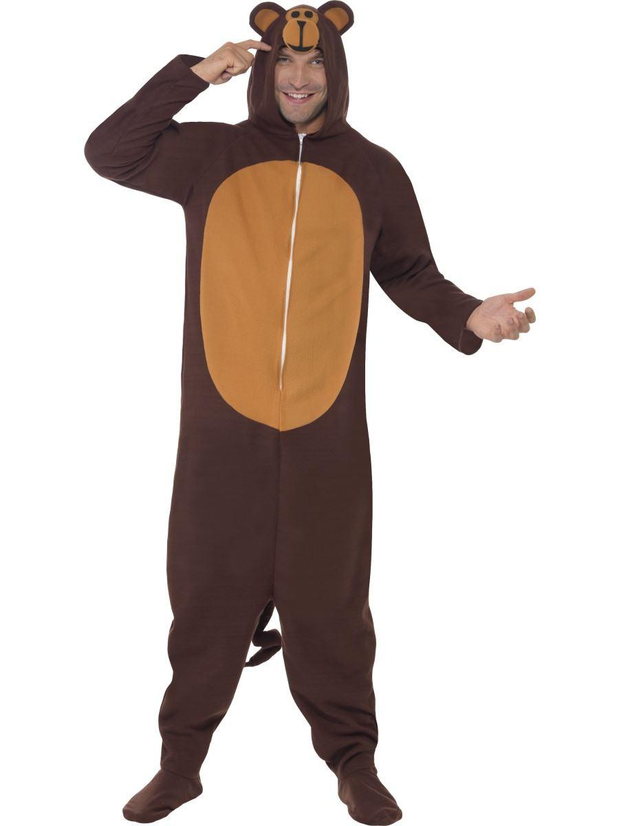 Mens-Monkey-Animal-Fancy-Dress-Costume-Outfit-Onesie-Jungle-Chimp-Jumpsuit