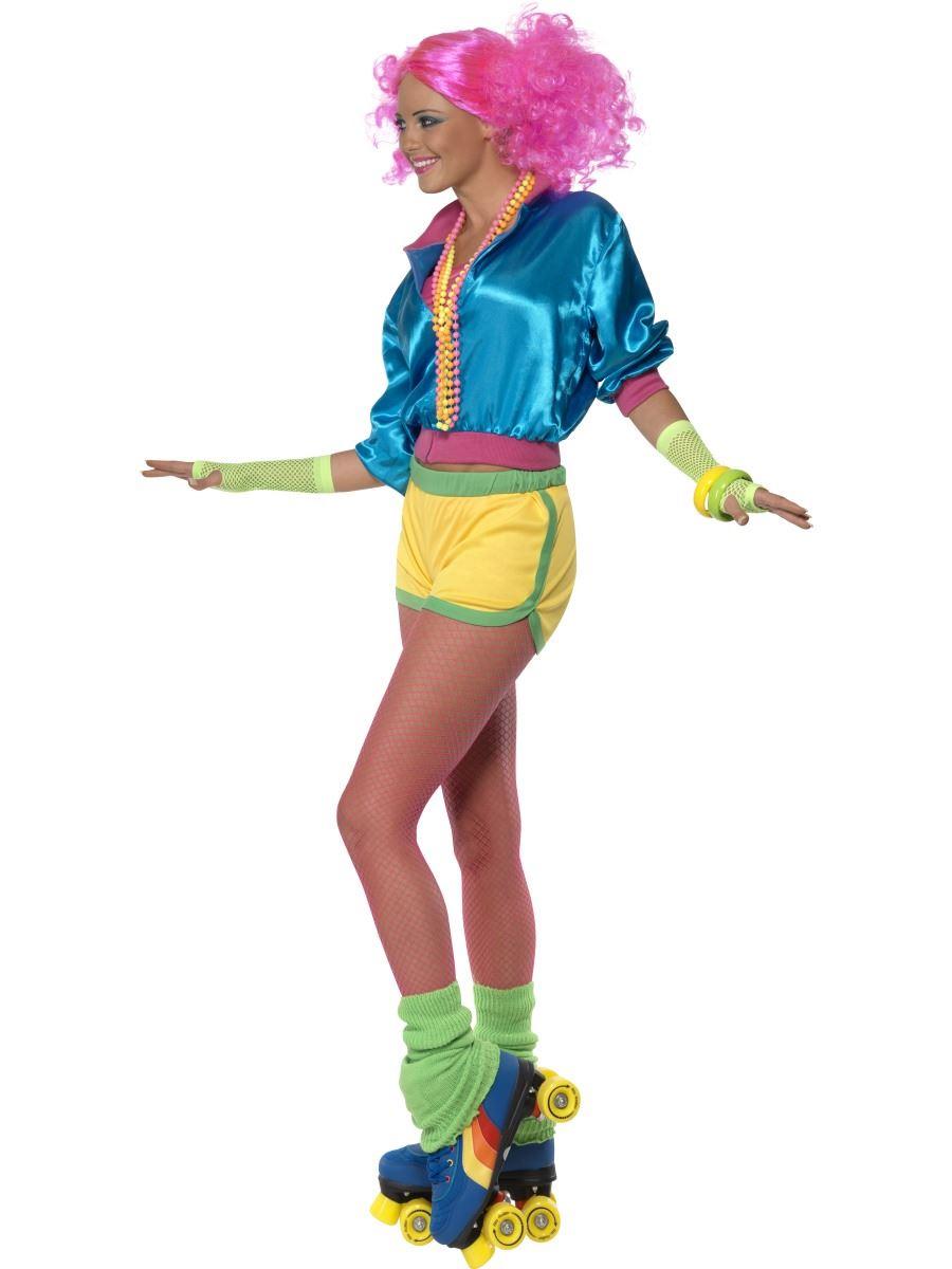 Ladies Skater Girl Costume Fancy Dress 70s 80s Neon Roller ...