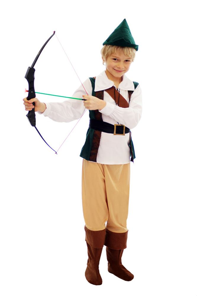 Kids Boys Hunter Robin Hood Peter Pan Medieval Book Week Fancy Dress Costume