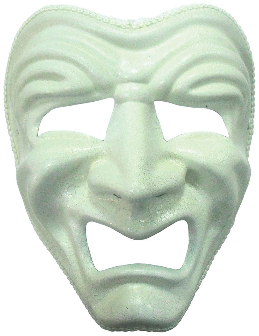 Happy Sad Masquerade Ball Halloween White Face Mask Fancy Dress ...