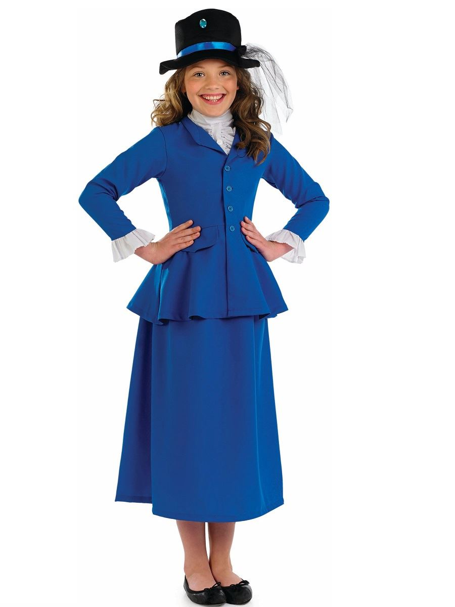 Girls Blue Victorian Nanny Teacher Fancy Dress Costume ...