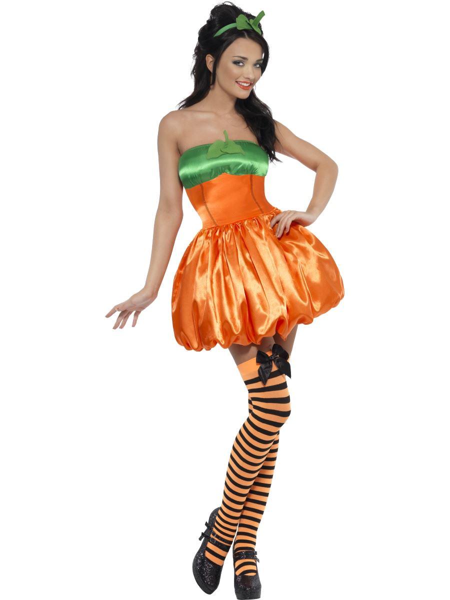 Ladies Sexy Fever Pumpkin Witch Halloween Fancy Dress Costume + ...