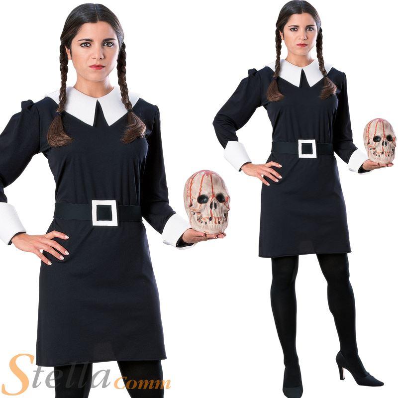 Adulte Famille Addams Wednesday Adams Femmes Déguisement Halloween