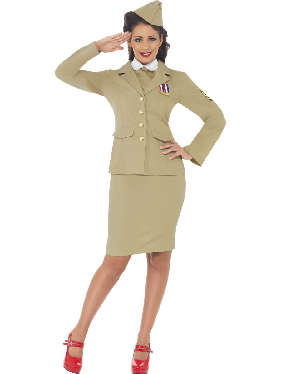 Ladies-Retro-Officer-Wartime-WW2-1940s-Army-Khaki-Uniform-Fancy-Dress-Costume