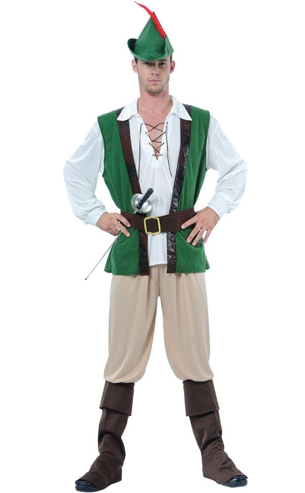 Mens-Deluxe-Robin-Hood-Medieval-Fancy-Dress-Costume-Adult-Outfit-Hat
