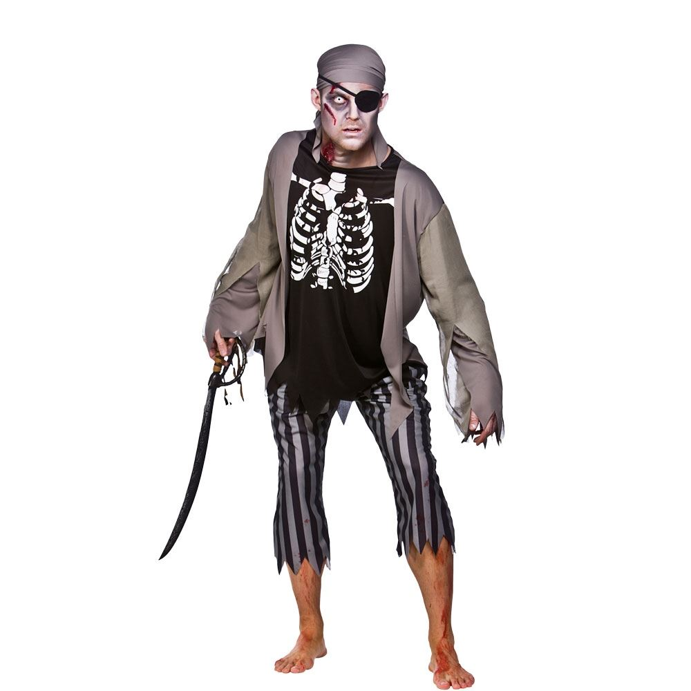 Mens-Zombie-Pirate-Costume-Skeleton-Ghost-Halloween-Fancy-Dress-Adult-Outfit
