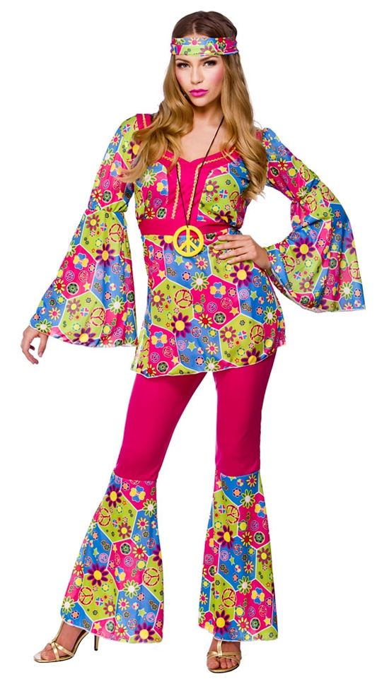 ladies hippie 60s 70s hippy flower fancy dress costumes flares adult outfit ebay. Black Bedroom Furniture Sets. Home Design Ideas