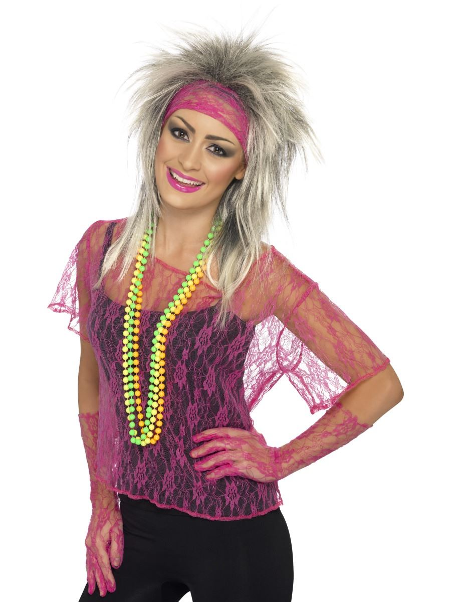 Tremendous Ladies Neon Lace Net Vests 80S New Romantic Fancy Dress Costume Hairstyle Inspiration Daily Dogsangcom