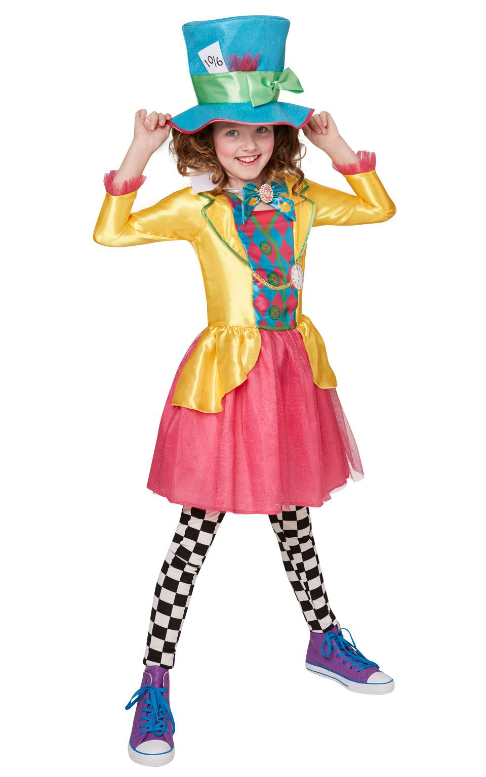 Girls Mad Hatter Fancy Dress Costume Alice in Wonderland ...