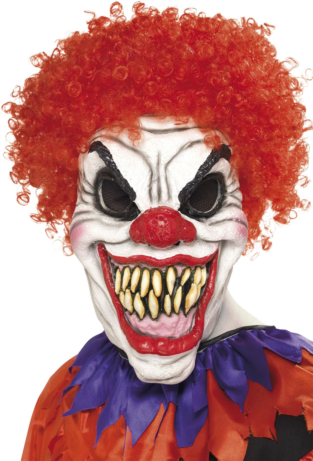 Adult Horror Killer Clown Mask With Red Hair Halloween Evil Circus ...