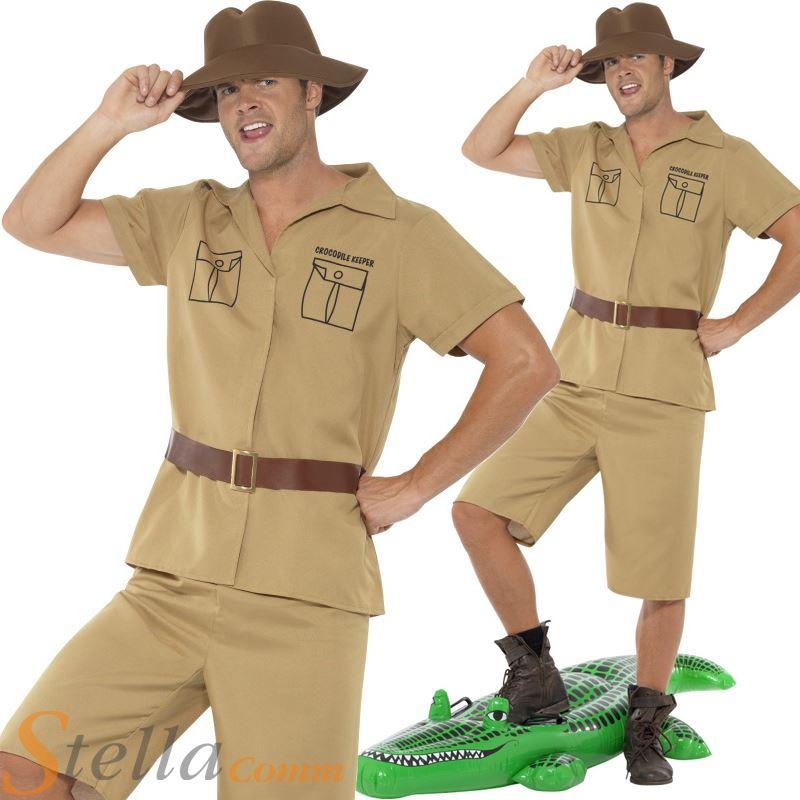 Mens Safari Man Crocodile Hunter Zoo Keeper Jungle Fancy Dress Costume Outfit | eBay