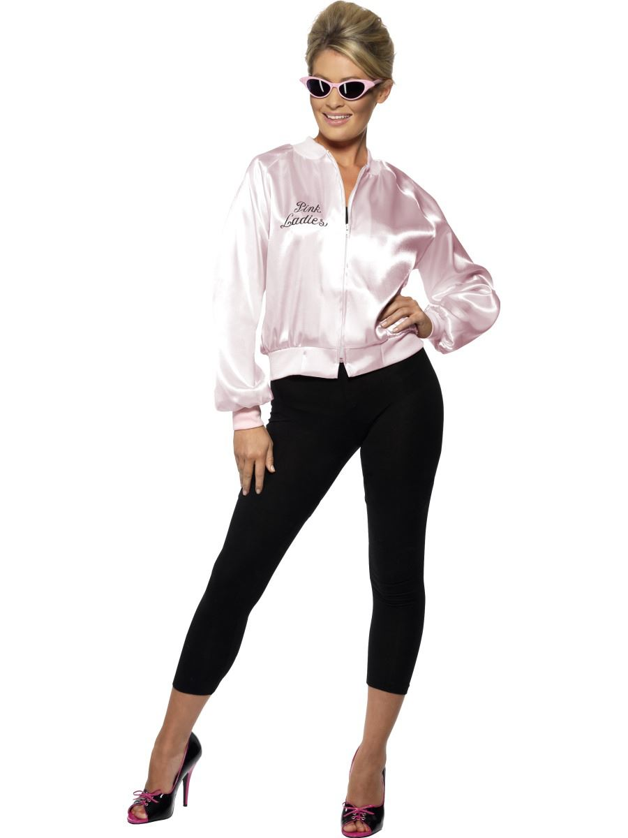 Womens-Grease-Pink-Ladies-Jacket-Fancy-Dress-Costume-50s-Hen-Party-Adult-Outfit