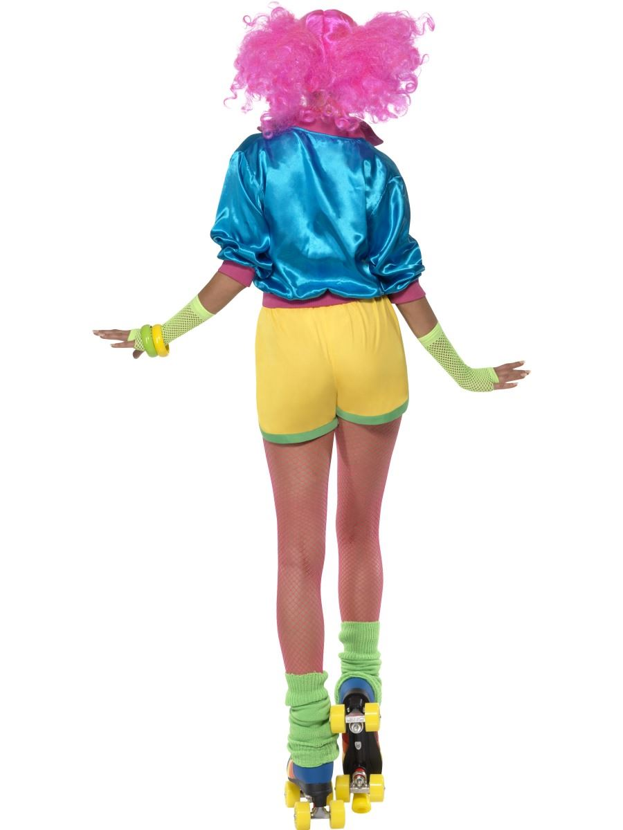Ladies-Skater-Girl-Costume-Fancy-Dress-70s-80s- - Ladies Skater Girl Costume Fancy Dress 70s 80s Neon Roller Disco