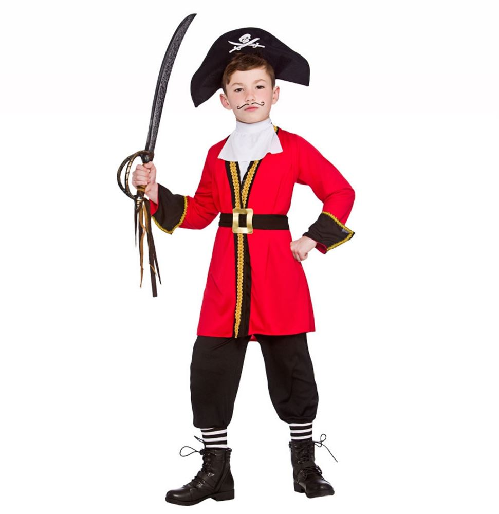 Boys Red Pirate Captain Hook Child Fancy Dress Costume Kids Book Week Outfit | eBay