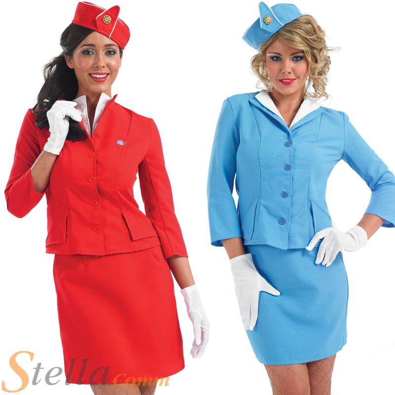 Ladies Cabin Crew Air Hostess Trolley Dolly Fancy Dress Costume Adult