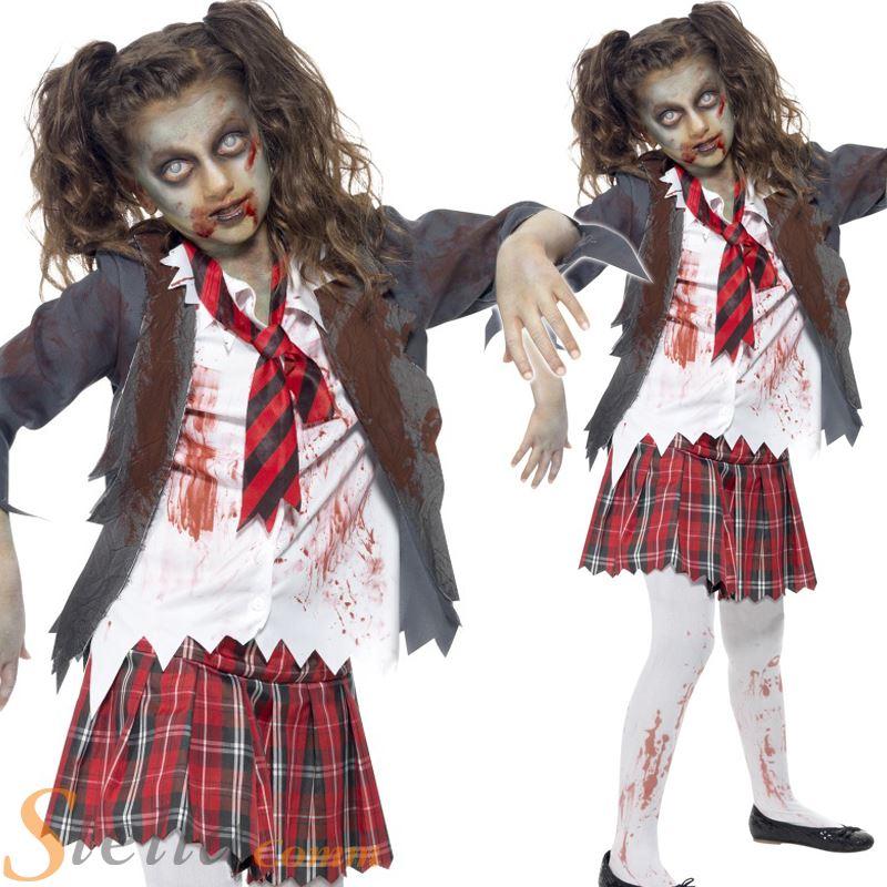 chicas zombie alta colegiala uniforme de halloween disfraz traje nio